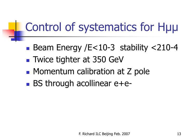 Control of systematics for Hµµ