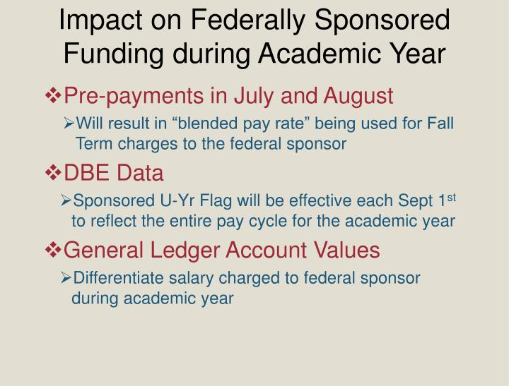 Impact on Federally Sponsored Funding during Academic Year