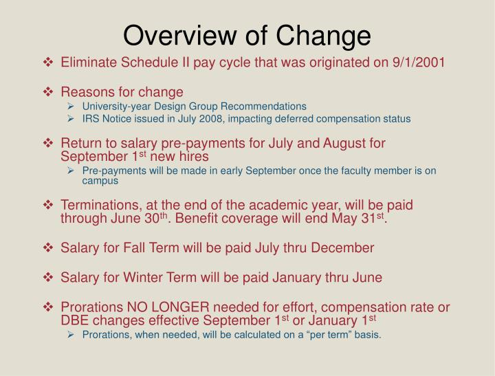 Overview of Change
