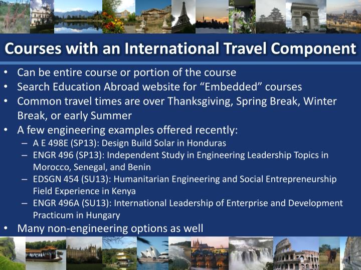 Courses with an International Travel Component