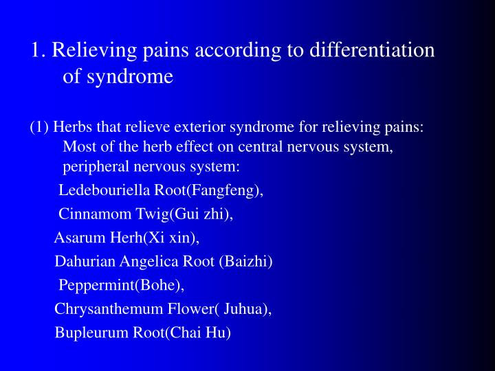 1. Relieving pains according to differentiation of syndrome