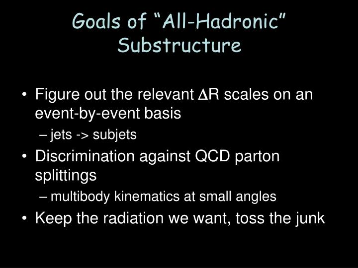 "Goals of ""All-Hadronic"" Substructure"