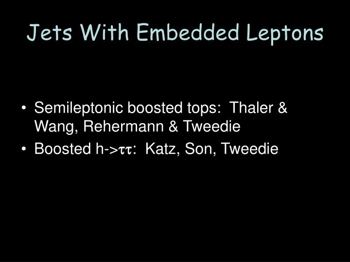 Jets With Embedded Leptons