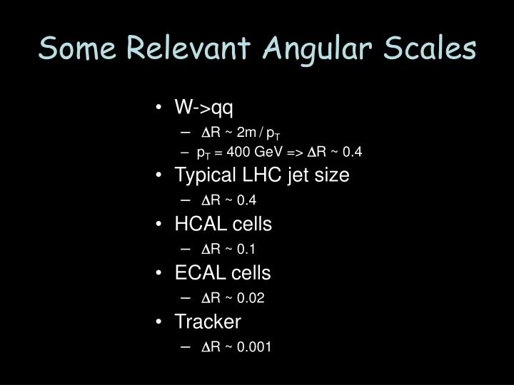 Some Relevant Angular Scales