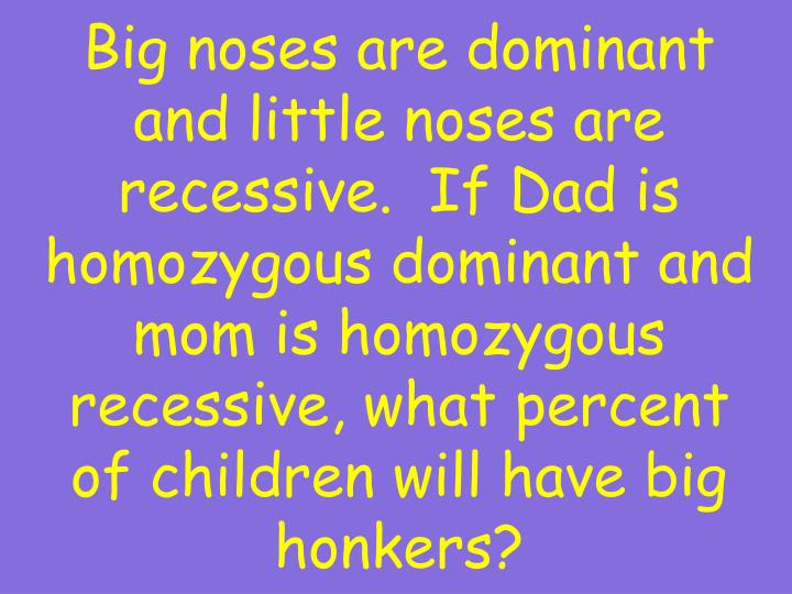 Big noses are dominant and little noses are recessive.  If Dad is homozygous dominant and mom is homozygous recessive, what percent of children will have big honkers?