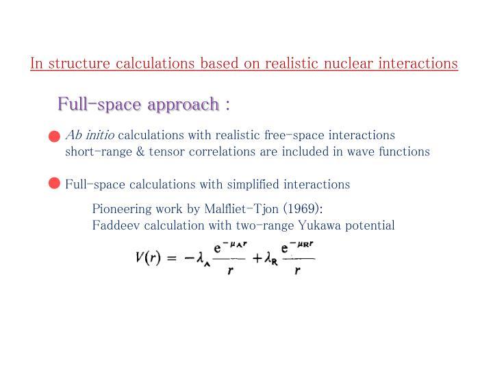 In structure calculations based on realistic nuclear interactions