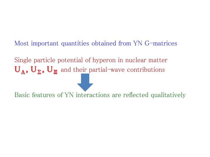 Most important quantities obtained from YN G-matrices