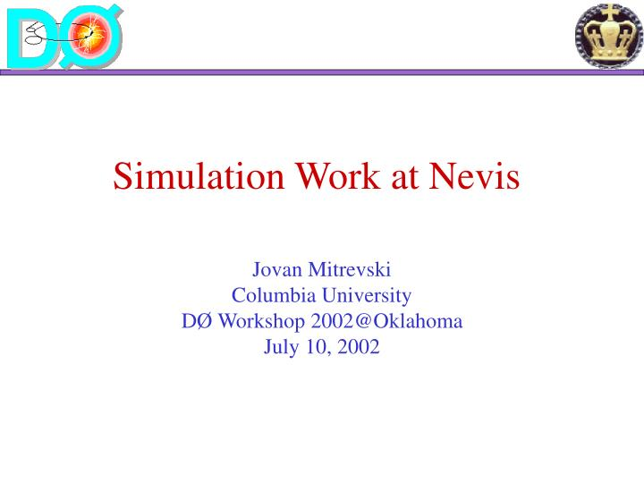 Simulation work at nevis
