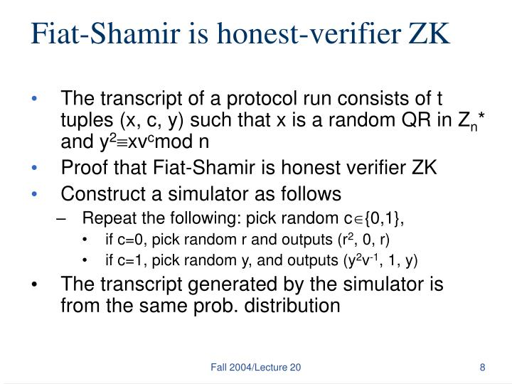Fiat-Shamir is honest-verifier ZK