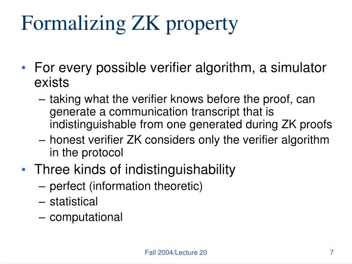 Formalizing ZK property