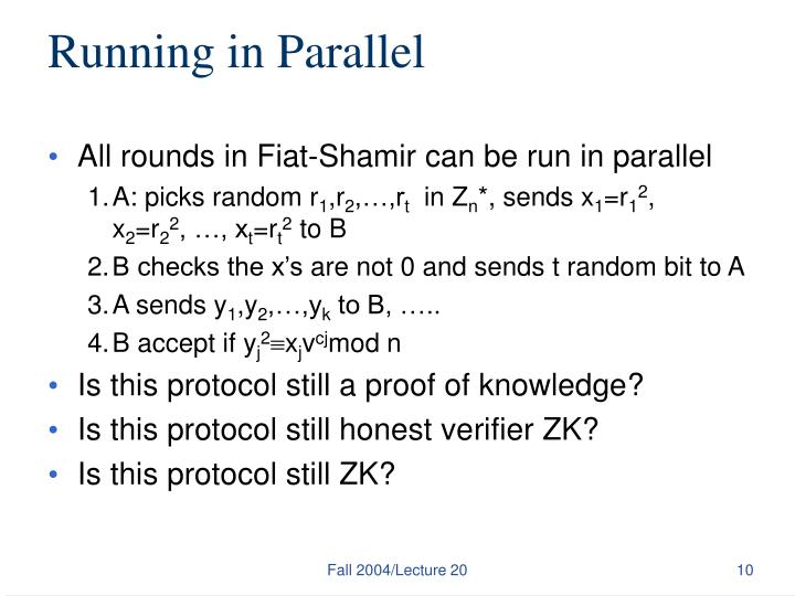 Running in Parallel