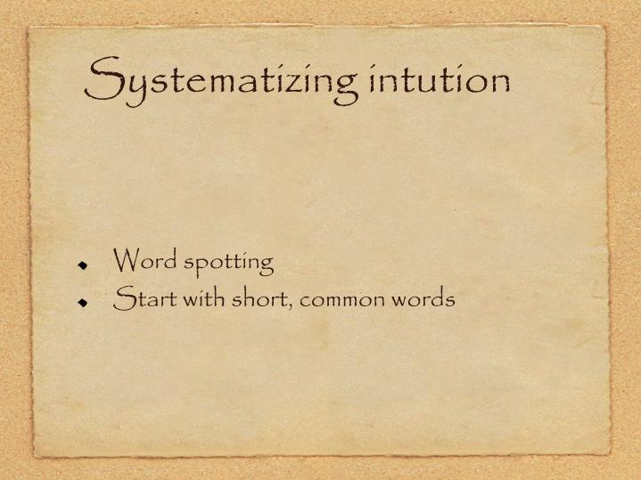 Systematizing intution