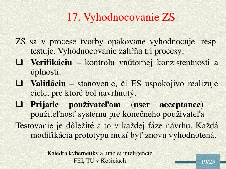 17. Vyhodnocovanie ZS