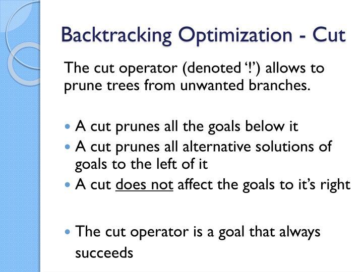 Backtracking Optimization - Cut