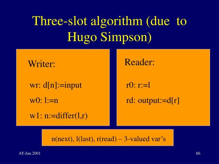 Three-slot algorithm (due  to Hugo Simpson)