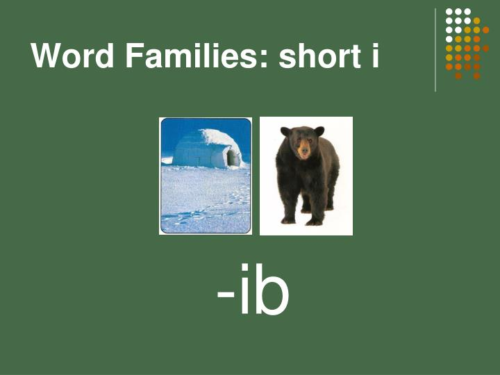 Word Families: short i