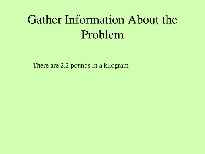 Gather Information About the Problem