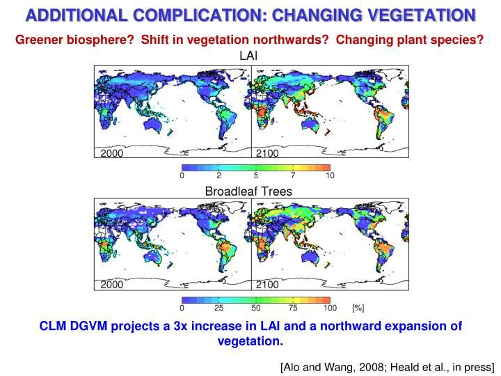 Greener biosphere?  Shift in vegetation northwards?  Changing plant species?