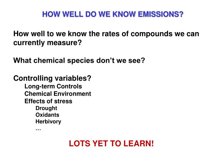 HOW WELL DO WE KNOW EMISSIONS?