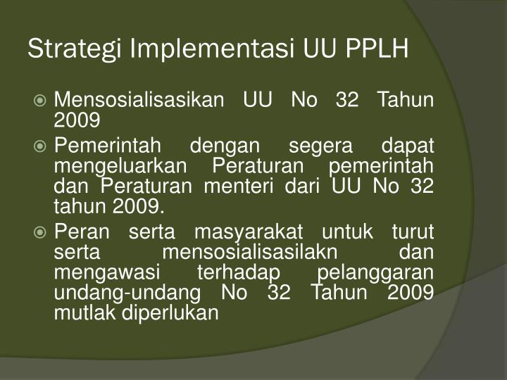 Strategi Implementasi UU PPLH