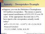 annuity sweepstakes example