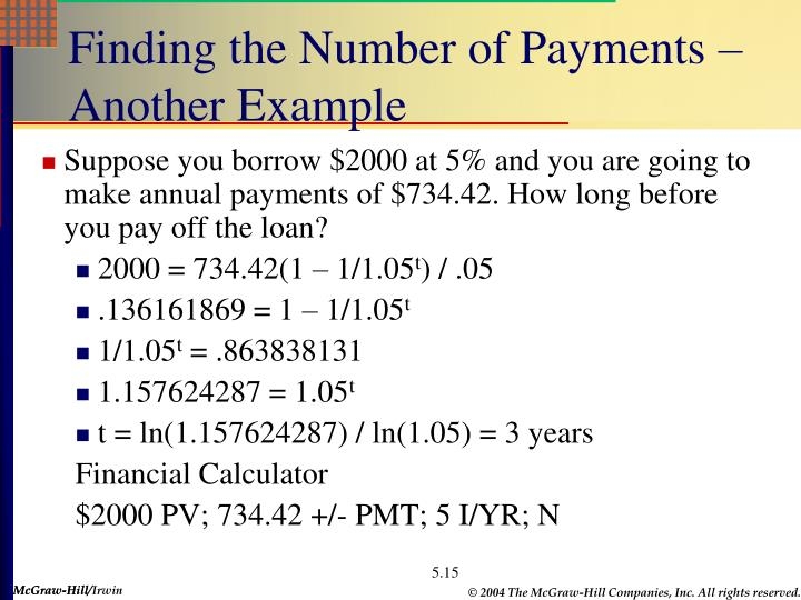Finding the Number of Payments – Another Example