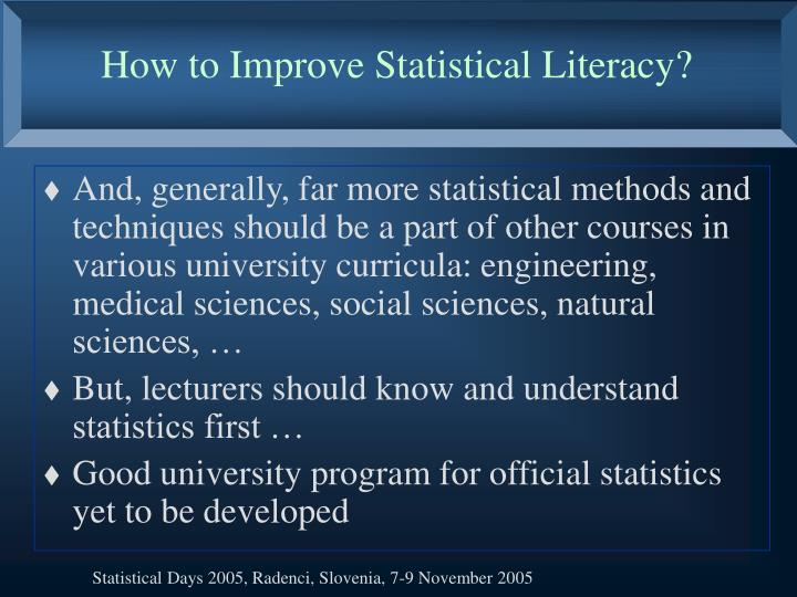 How to Improve Statistical Literacy?