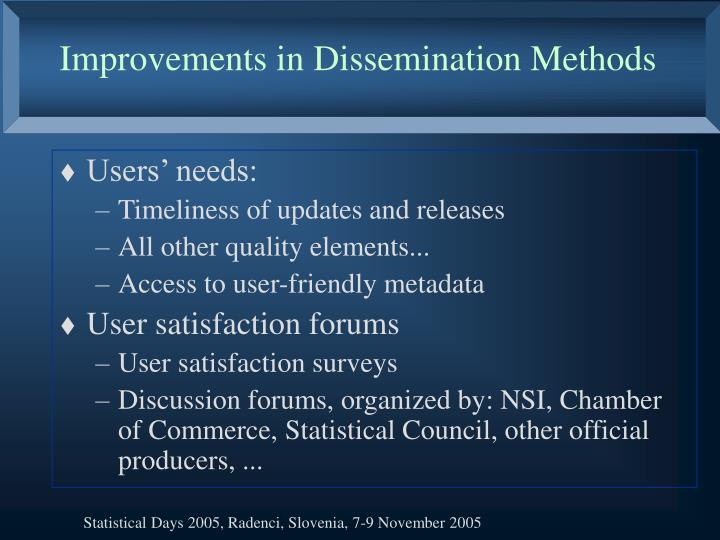 Improvements in Dissemination Methods