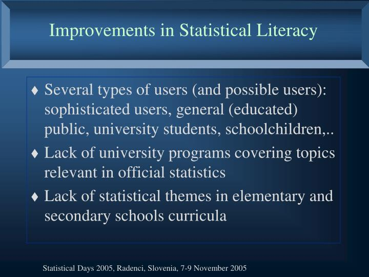 Improvements in Statistical Literacy