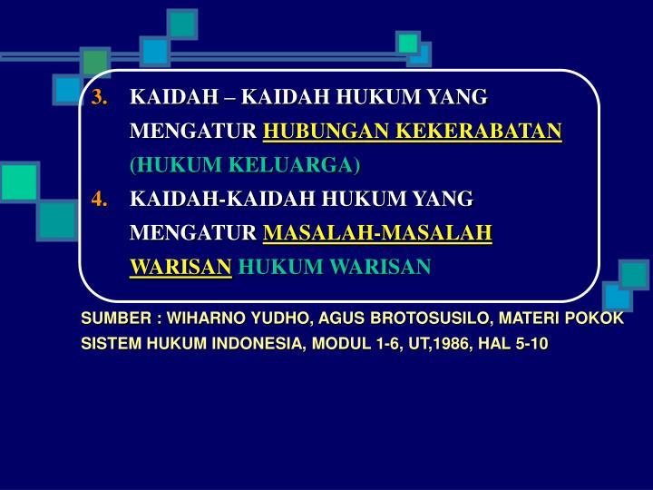 KAIDAH – KAIDAH HUKUM YANG MENGATUR
