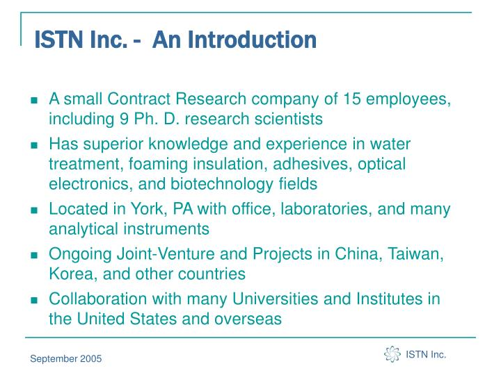 ISTN Inc. -  An Introduction