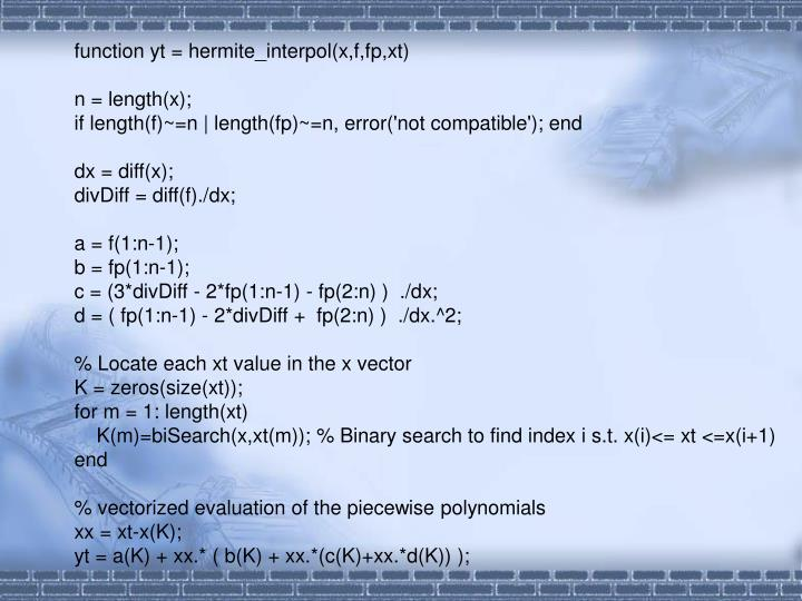 function yt = hermite_interpol(x,f,fp,xt)