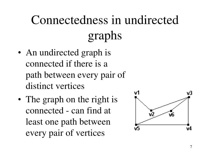 Connectedness in undirected graphs