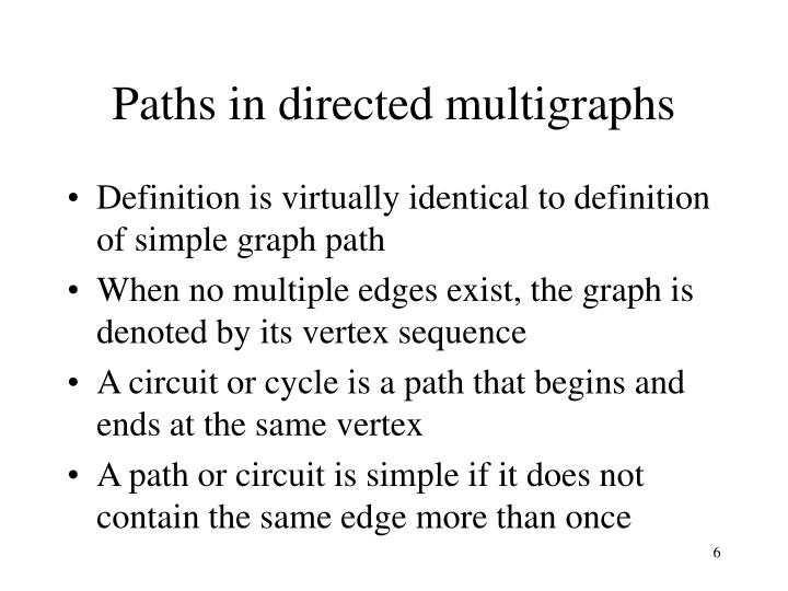 Paths in directed multigraphs