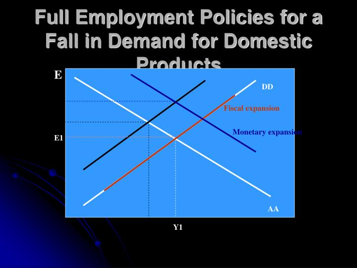 Full Employment Policies for a Fall in Demand for Domestic Products