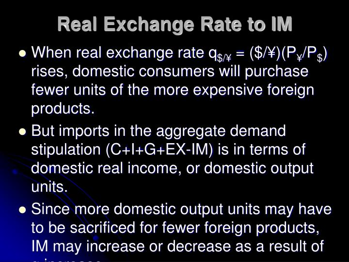 Real Exchange Rate to IM
