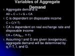 variables of aggregate demand