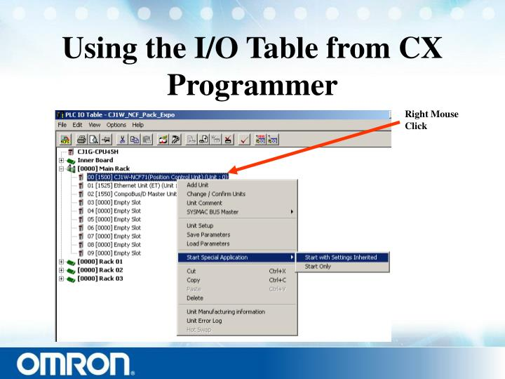 Using the I/O Table from CX Programmer