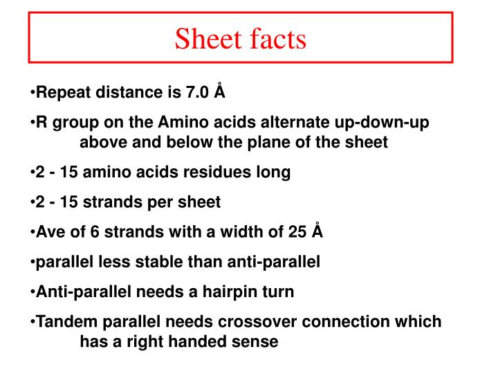 Sheet facts