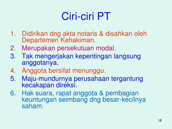 Ciri-ciri PT