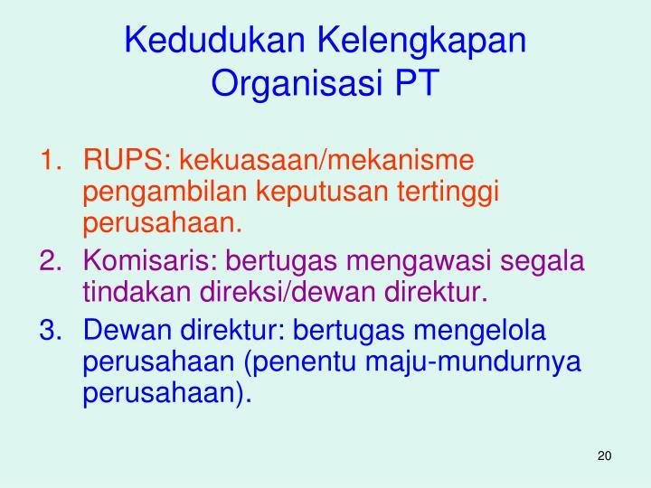 Kedudukan Kelengkapan Organisasi PT