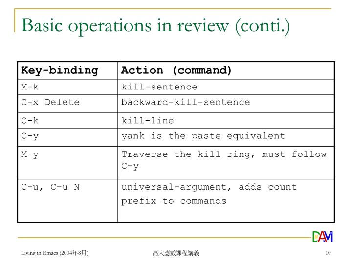 Basic operations in review (conti.)