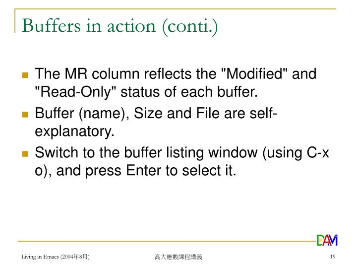 Buffers in action (conti.)