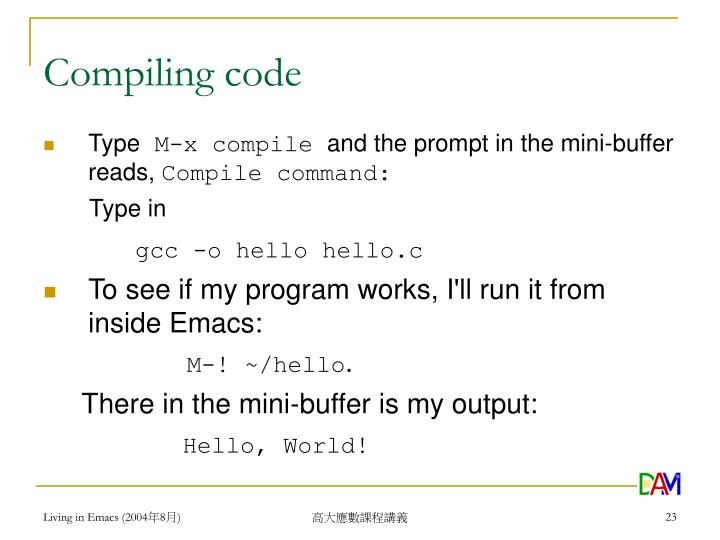 Compiling code