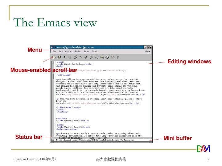 The emacs view