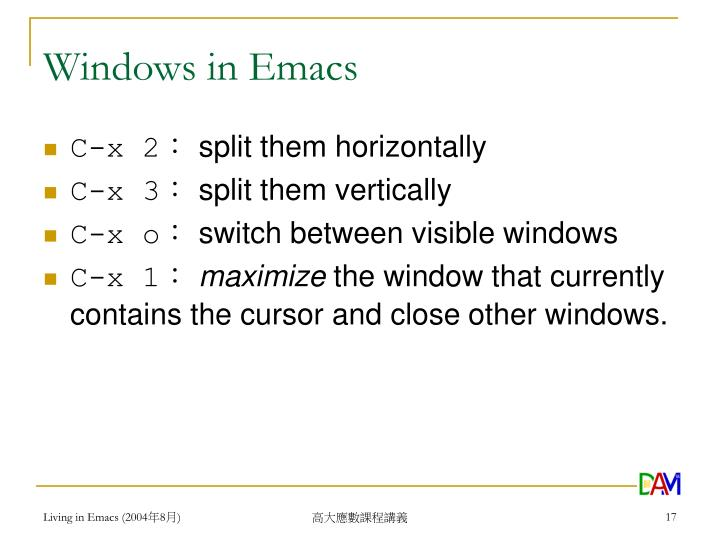 Windows in Emacs