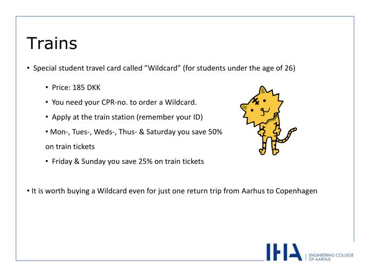 """Special student travel card called """"Wildcard"""" (for students under the age of 26)"""