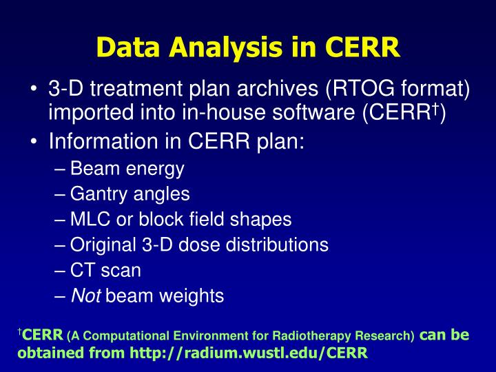 Data Analysis in CERR