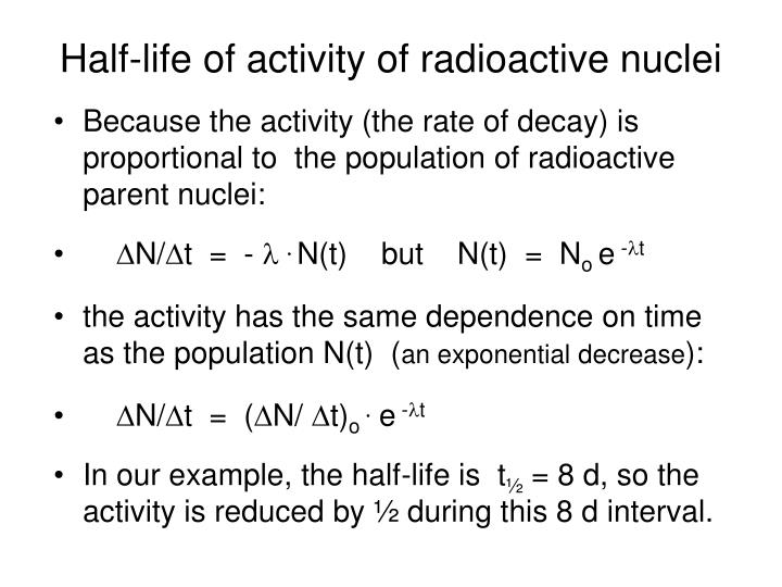 Half-life of activity of radioactive nuclei