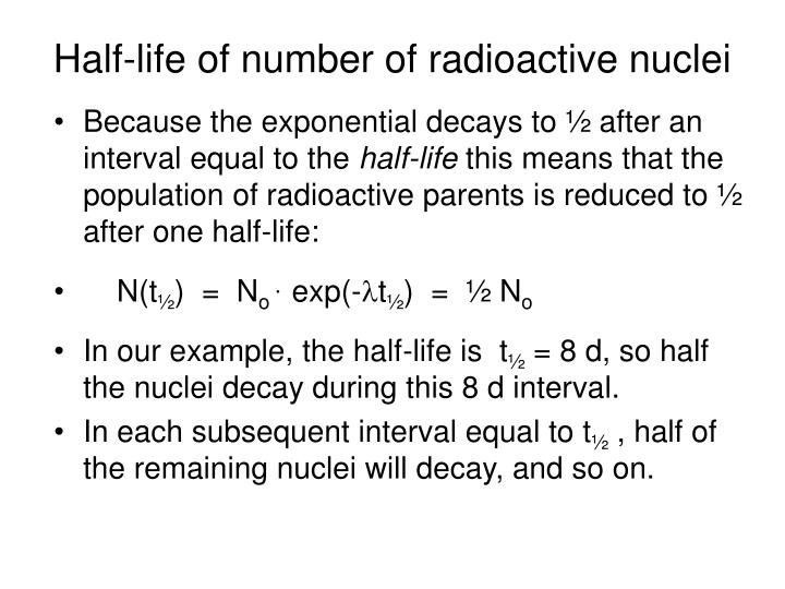Half-life of number of radioactive nuclei